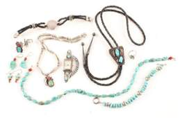 LADIES MOSTLY 925 SILVER TURQUOISE CORAL JEWELRY