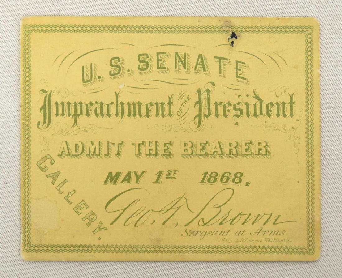 President Andrew Johnson Impeachment Ticket