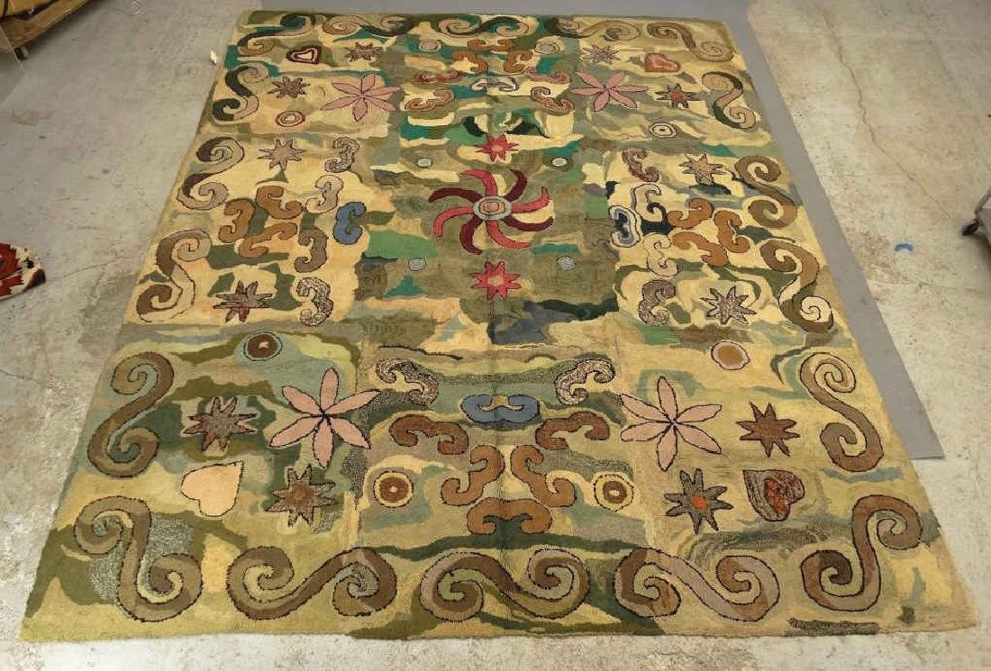 Folk Art Hooked Roomsize Rug