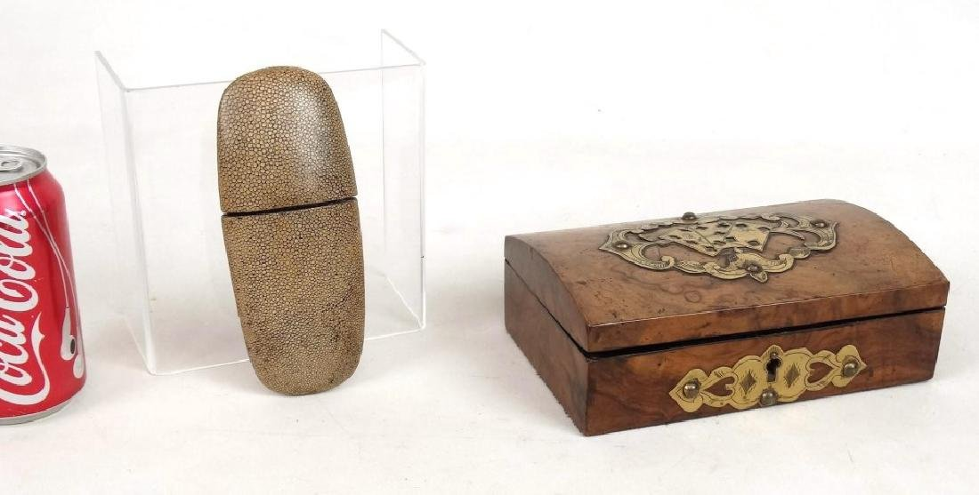 19th c. Card Box & Shark Skin Case