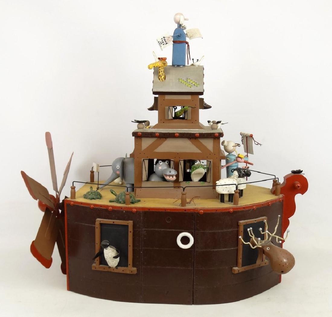 Contemporary Folk Art Noah's Ark Whirligig - 10