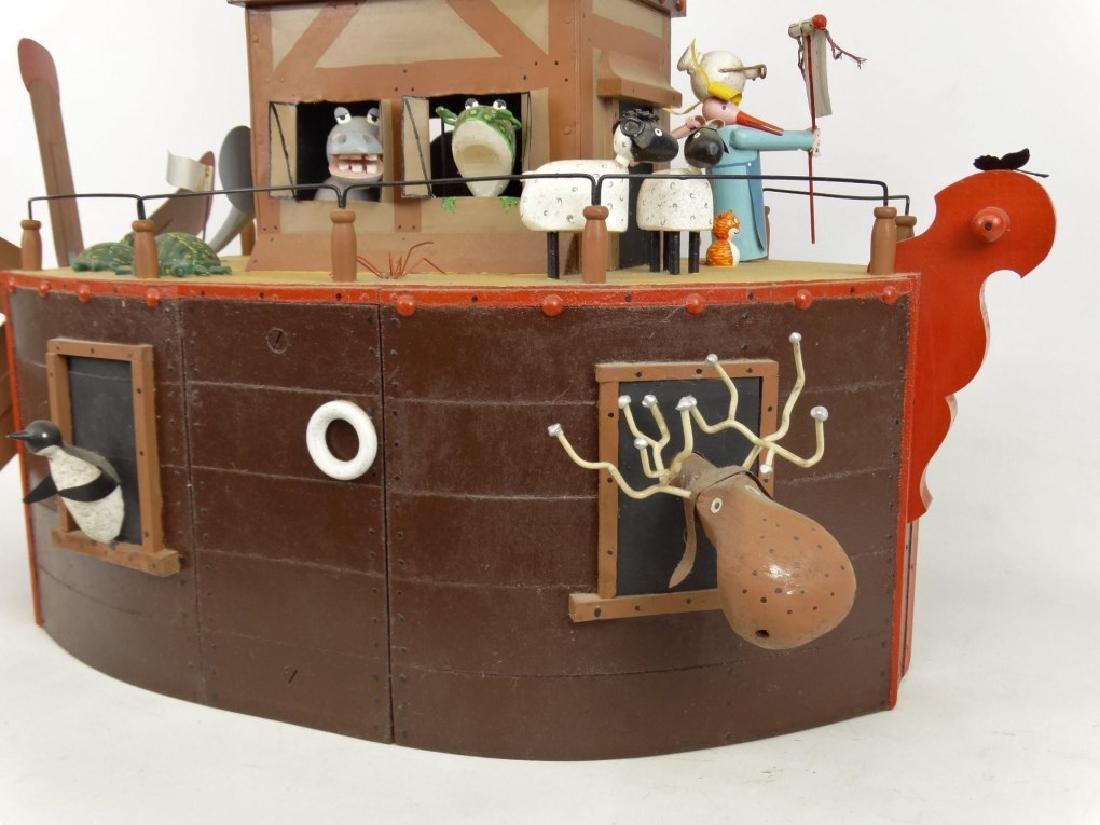 Contemporary Folk Art Noah's Ark Whirligig - 11