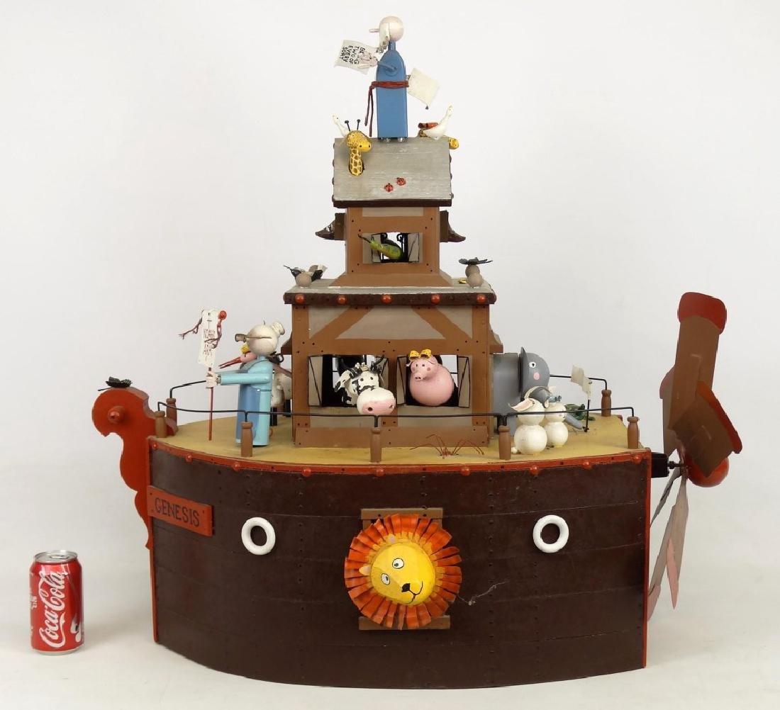 Contemporary Folk Art Noah's Ark Whirligig