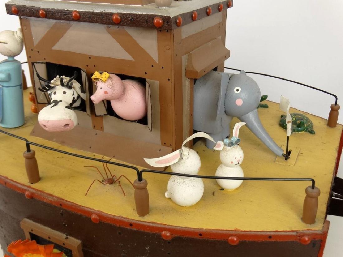 Contemporary Folk Art Noah's Ark Whirligig - 4