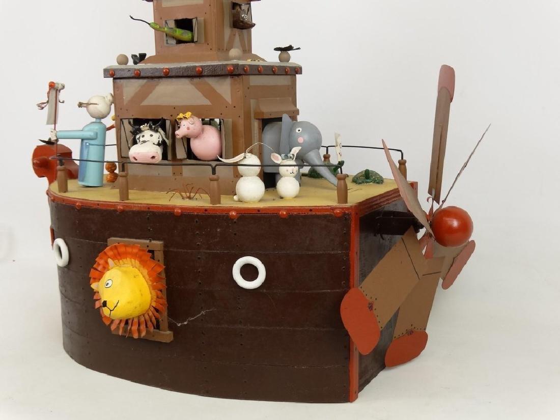 Contemporary Folk Art Noah's Ark Whirligig - 7