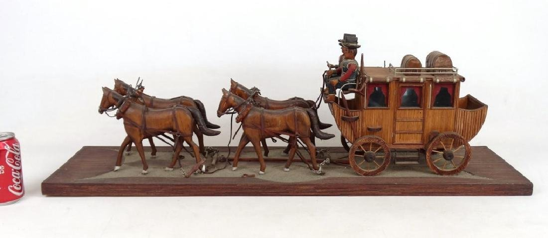 Folk Art Carriage & Horse Sculpture