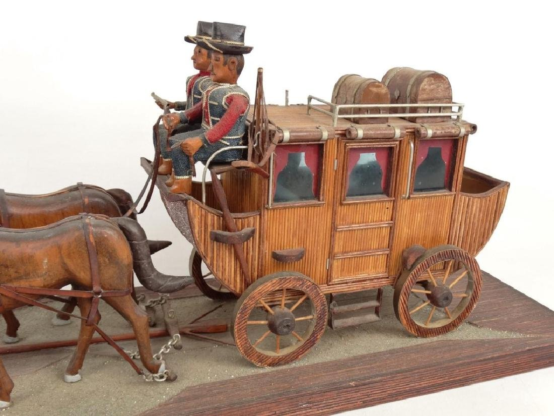 Folk Art Carriage & Horse Sculpture - 2