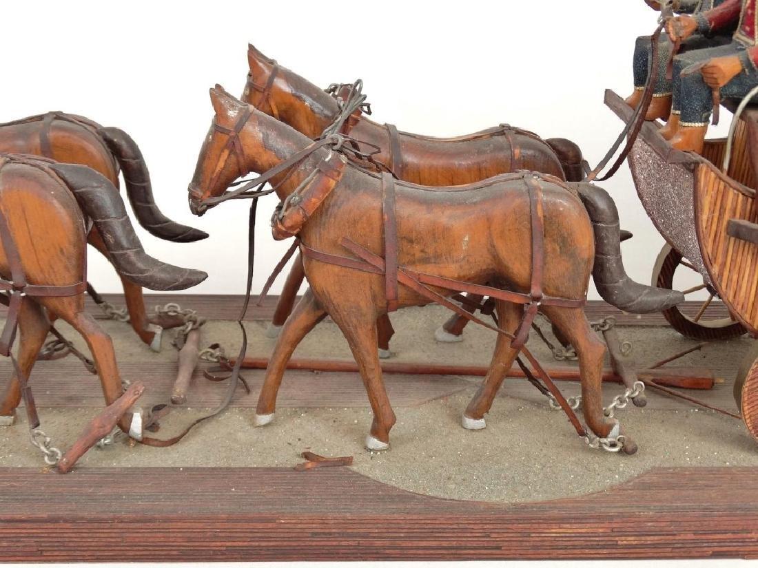 Folk Art Carriage & Horse Sculpture - 3