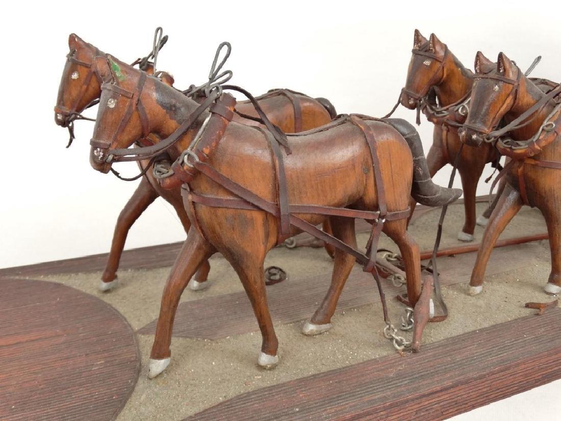 Folk Art Carriage & Horse Sculpture - 4