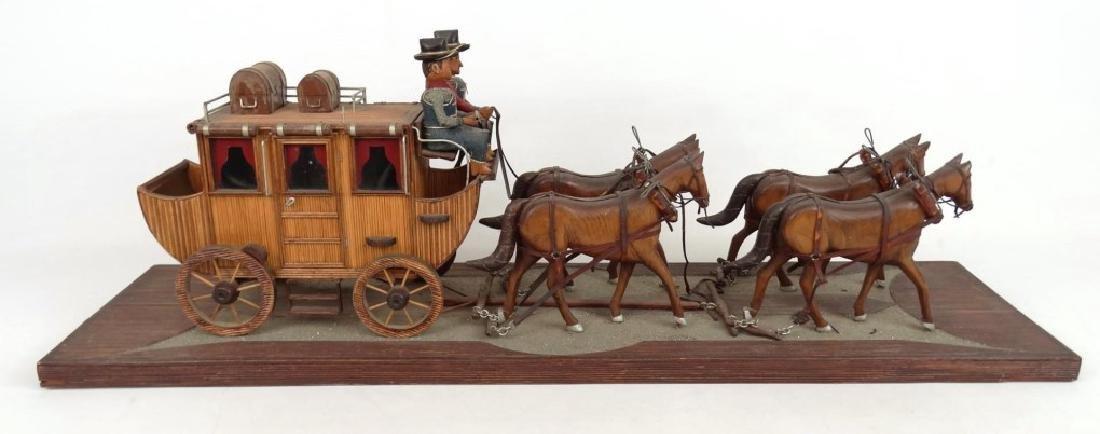 Folk Art Carriage & Horse Sculpture - 5