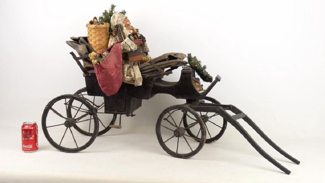 Folk Art Santa Claus Cart