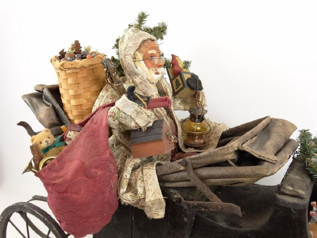 Folk Art Santa Claus Cart - 2