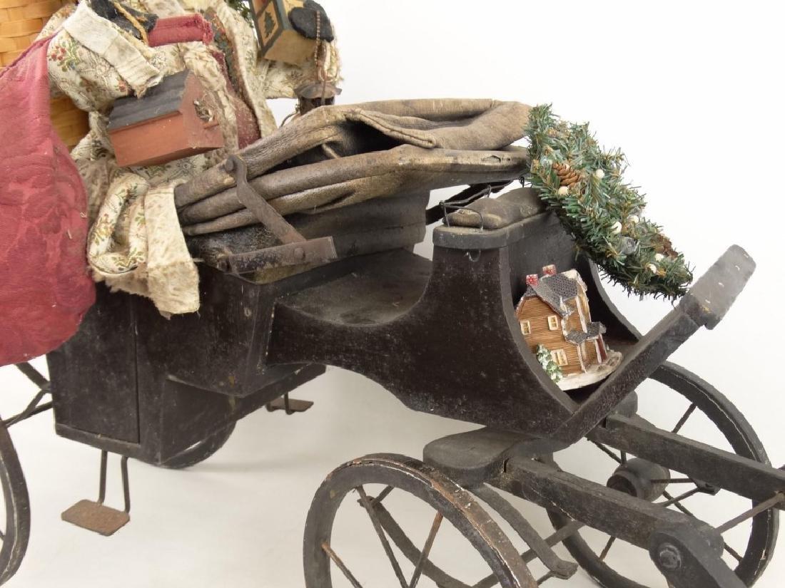 Folk Art Santa Claus Cart - 3