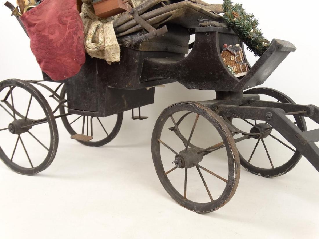 Folk Art Santa Claus Cart - 4