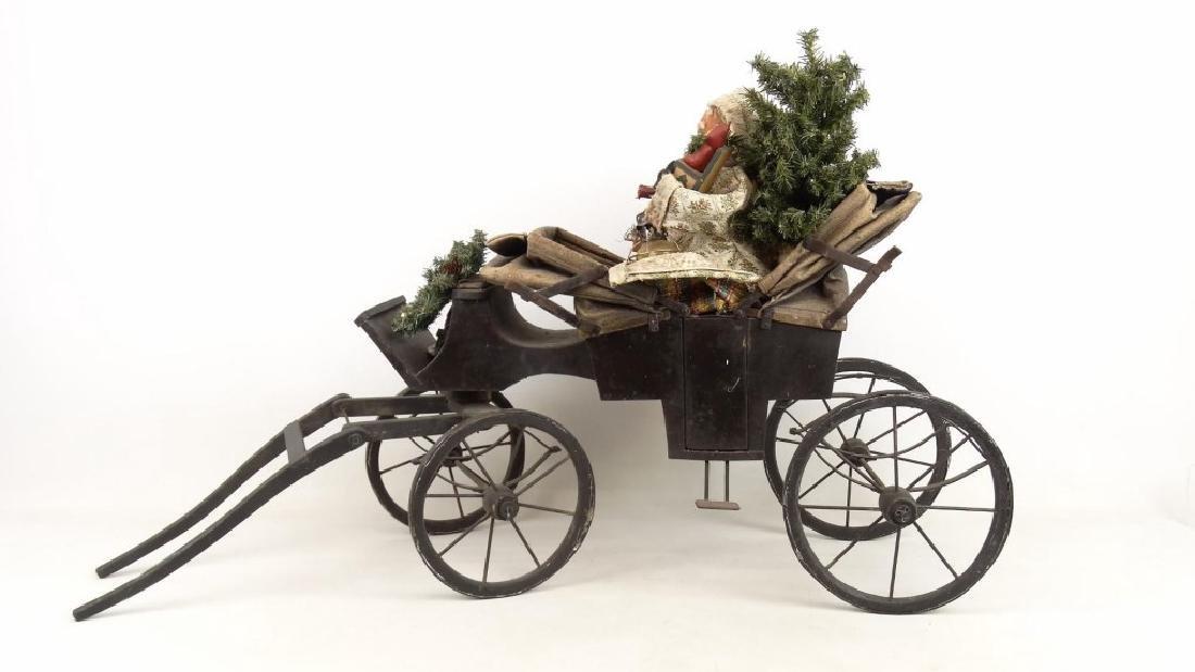 Folk Art Santa Claus Cart - 6