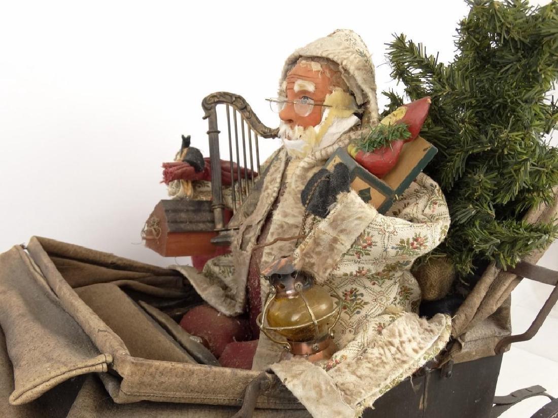 Folk Art Santa Claus Cart - 7