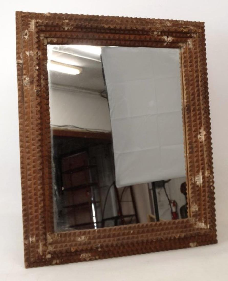 19th c. Tramp Art Frame With Mirror