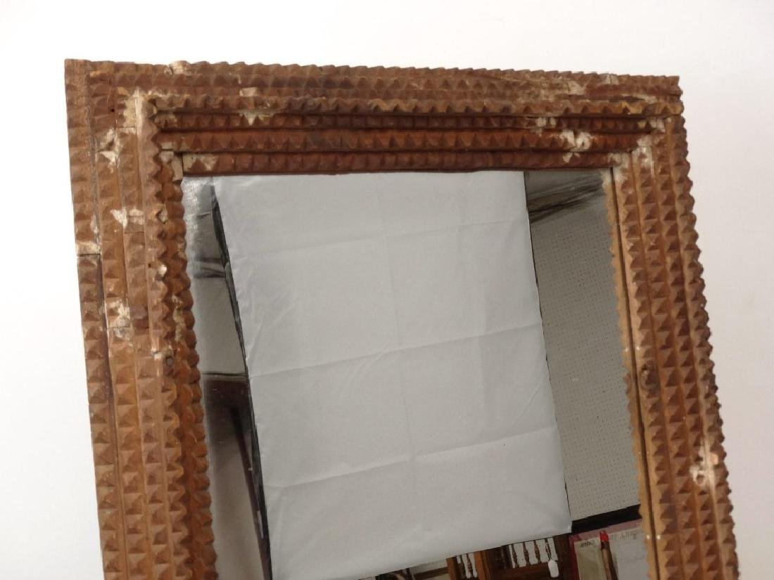 19th c. Tramp Art Frame With Mirror - 2