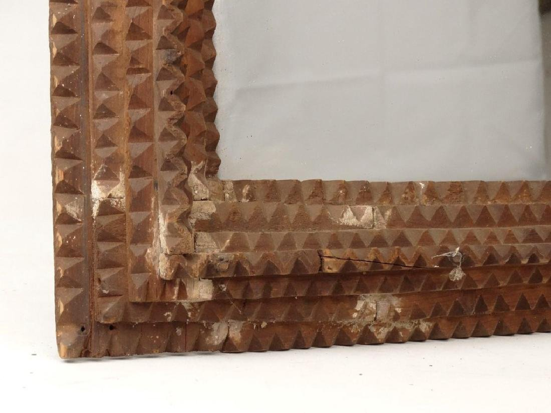 19th c. Tramp Art Frame With Mirror - 3