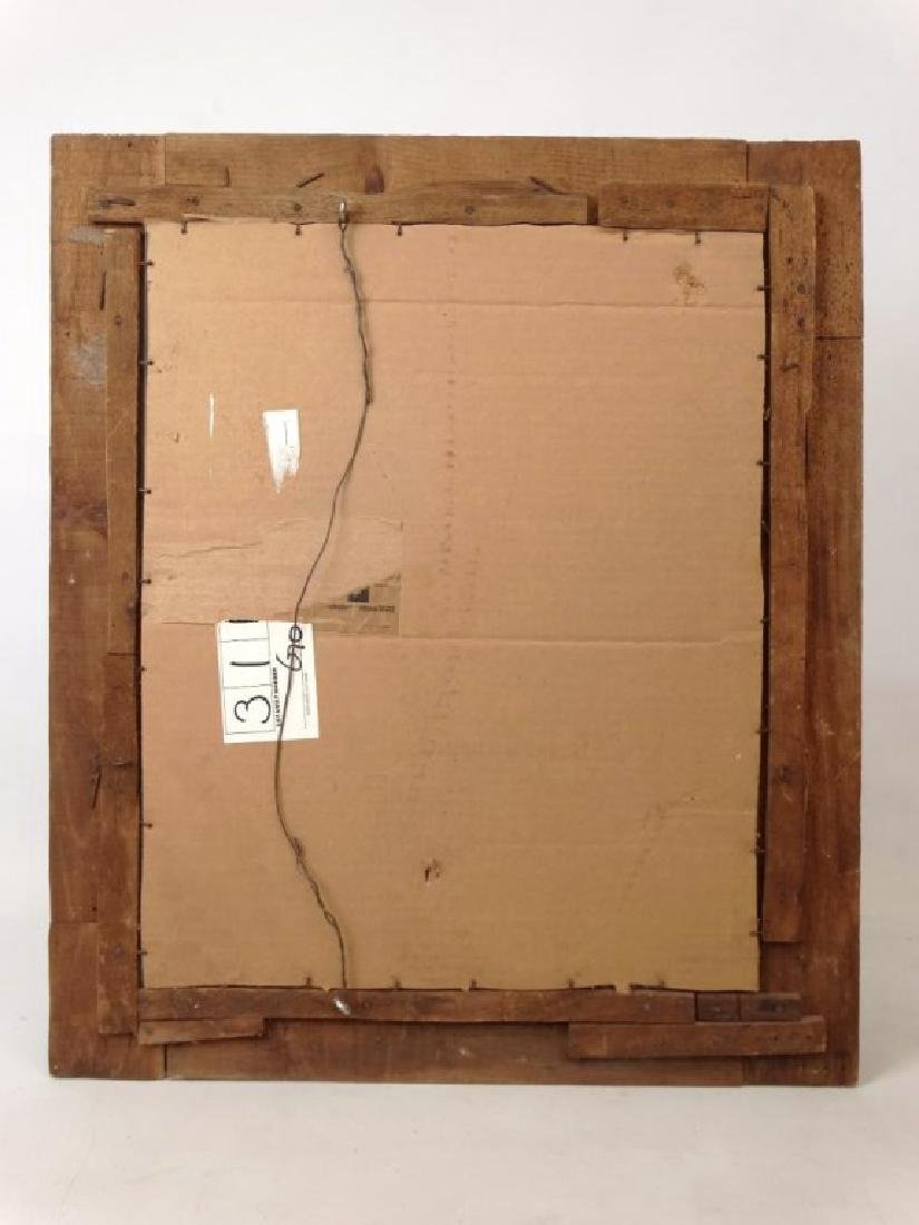 19th c. Tramp Art Frame With Mirror - 4
