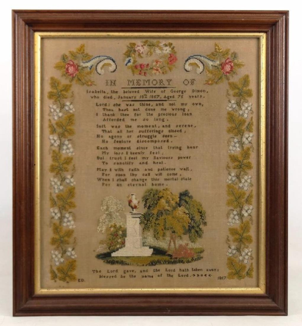 19th c. Memorial Needlework