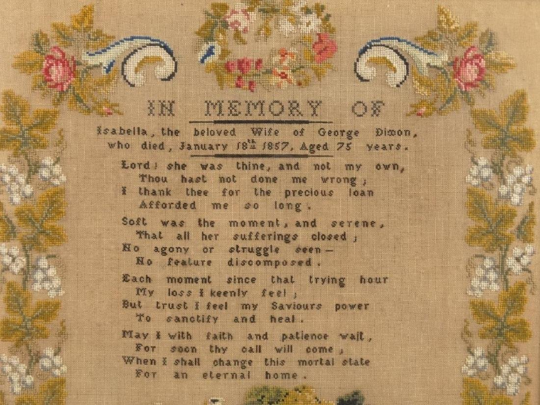 19th c. Memorial Needlework - 2