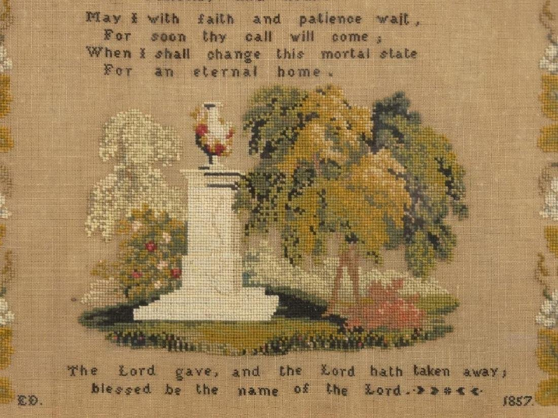 19th c. Memorial Needlework - 3