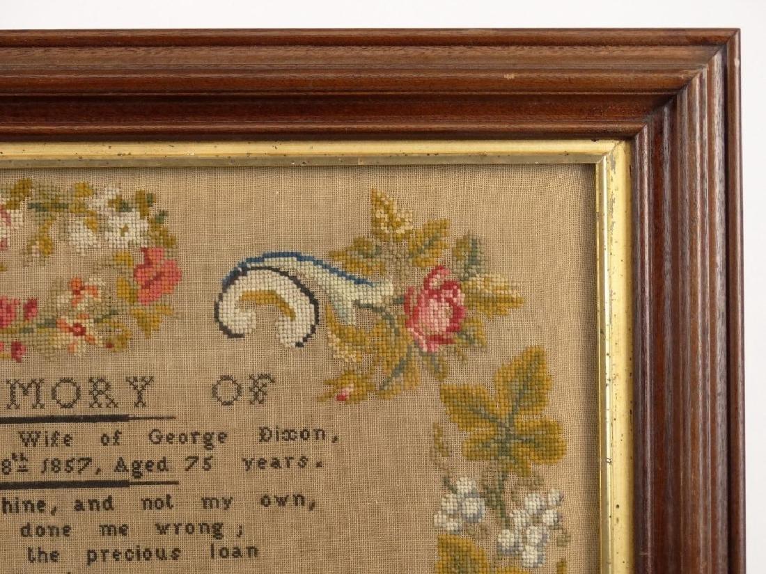 19th c. Memorial Needlework - 4