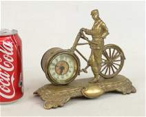 Brass Figural Rider With Safety Clock