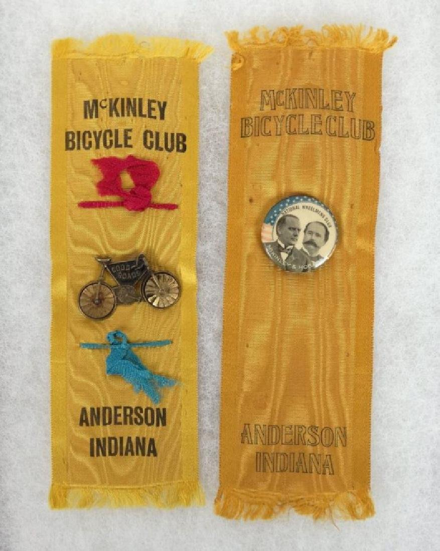 1896 McKinley Bicycle Campaign Club Ribbons