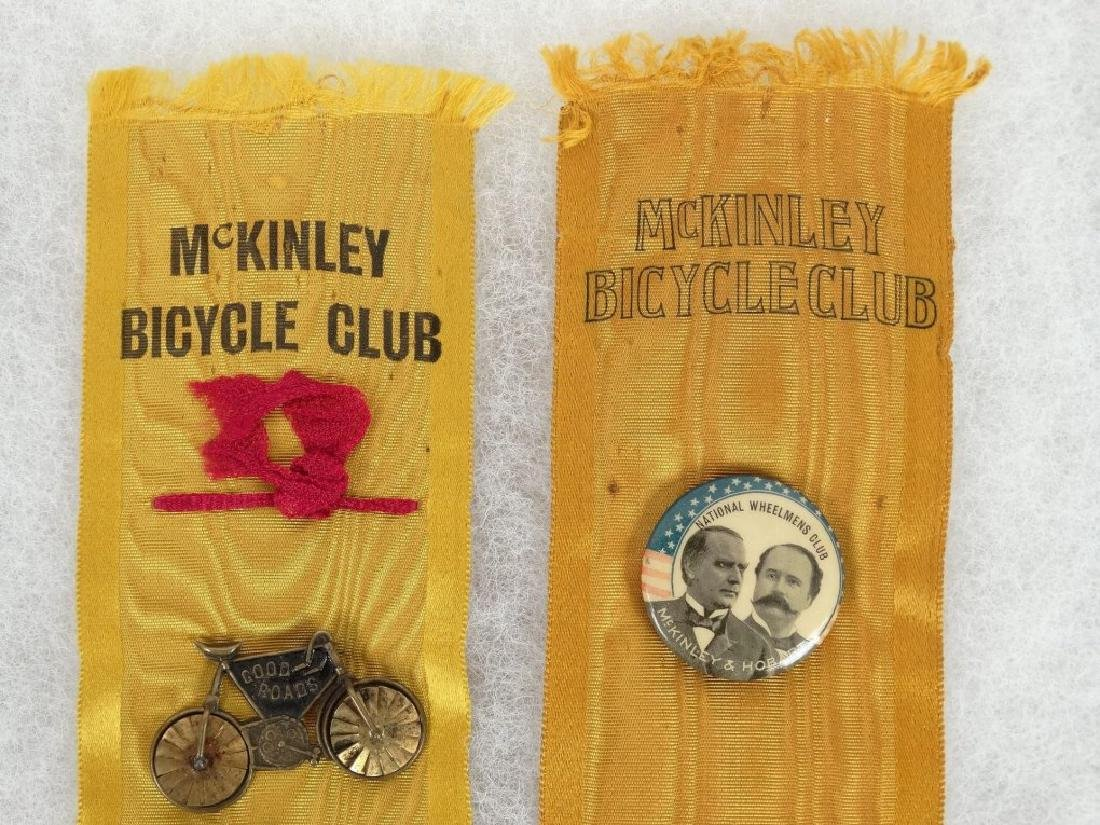 1896 McKinley Bicycle Campaign Club Ribbons - 2