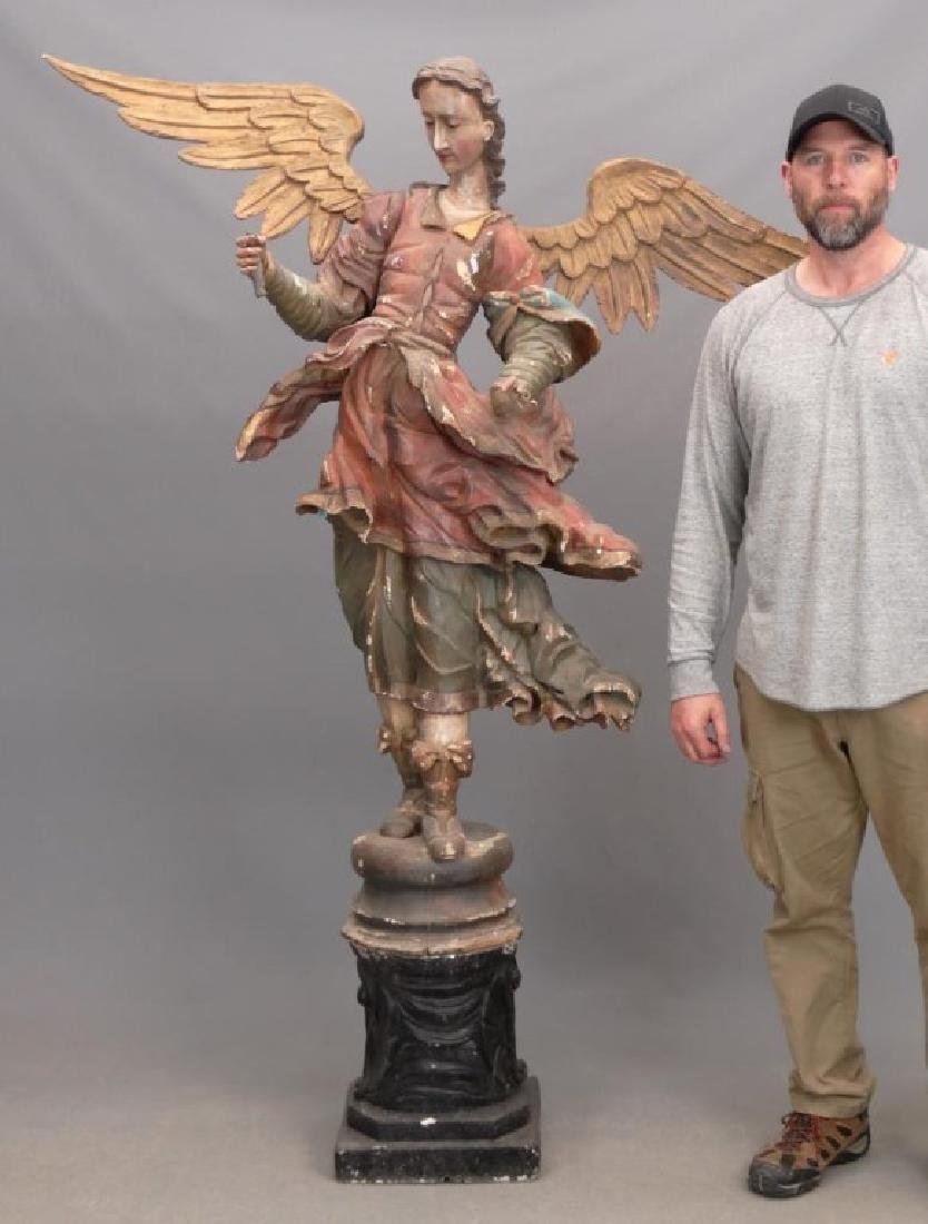 18th c. Wooden Religious Carved Angel