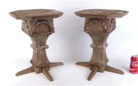 Pair Carved Wooden Pedestals