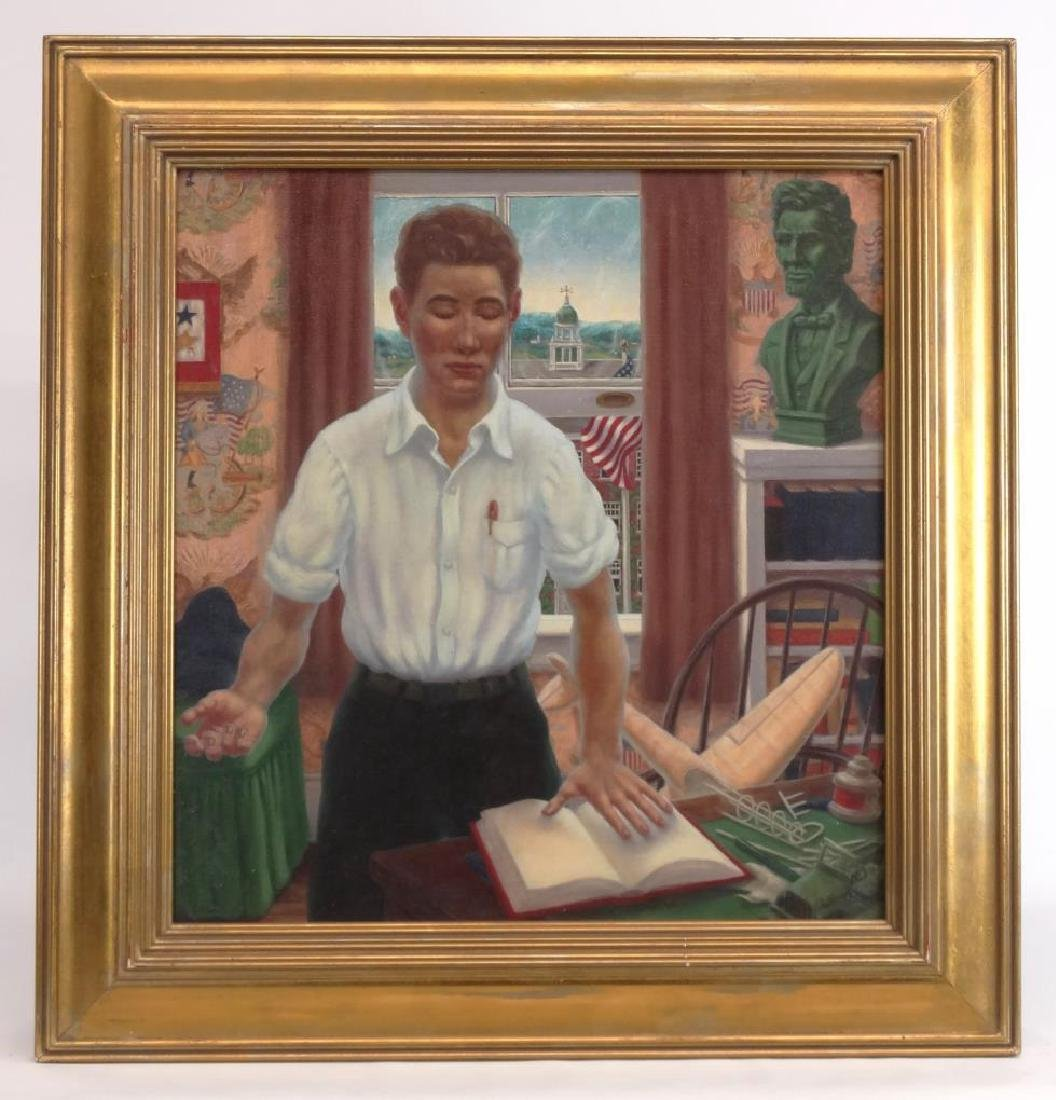 Modernist School, Boy With Hand On Book