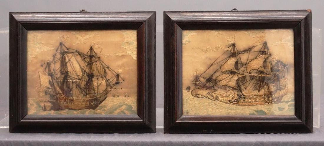 Pair 19th c. Ship Needleworks