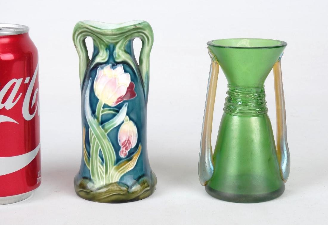 Majolica & Loetz Style Vases