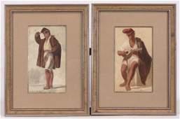 Italian School, Two Watercolors