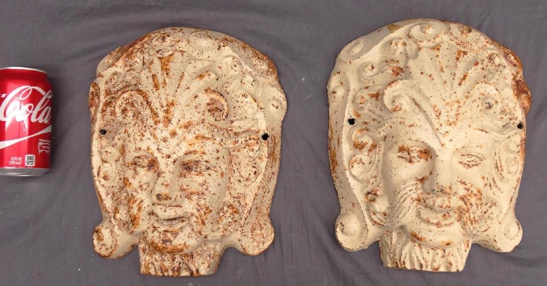 Pair Cast Iron Masks
