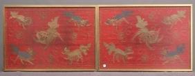 Pair Asian Framed Needlework's