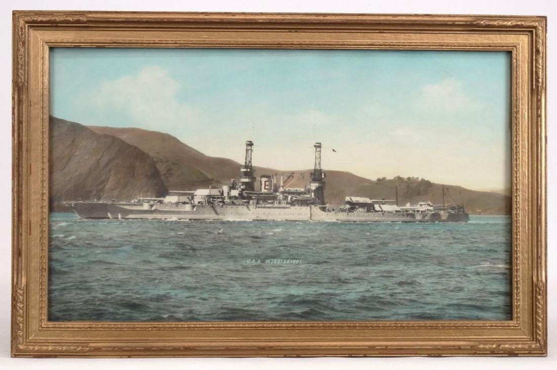 "Hand Colored Photograph ""U.S.S. MISSISSIPPI"""