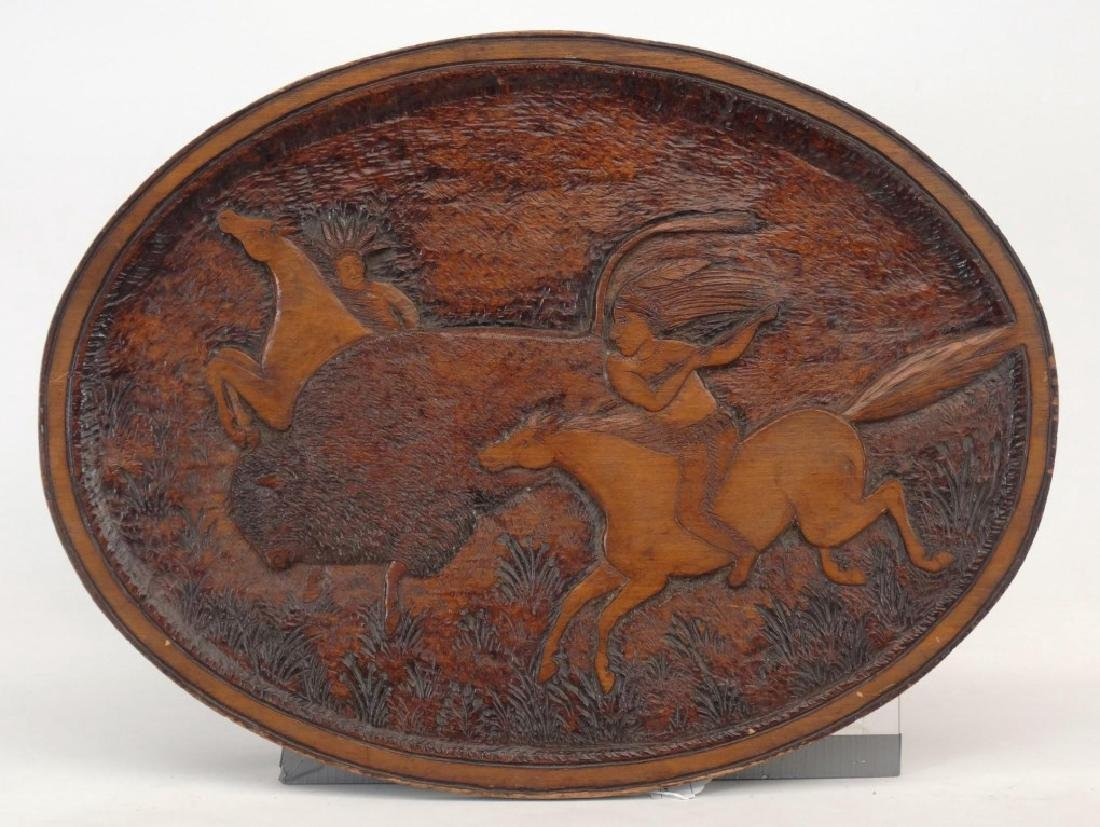 Carved Plaque With American Indians