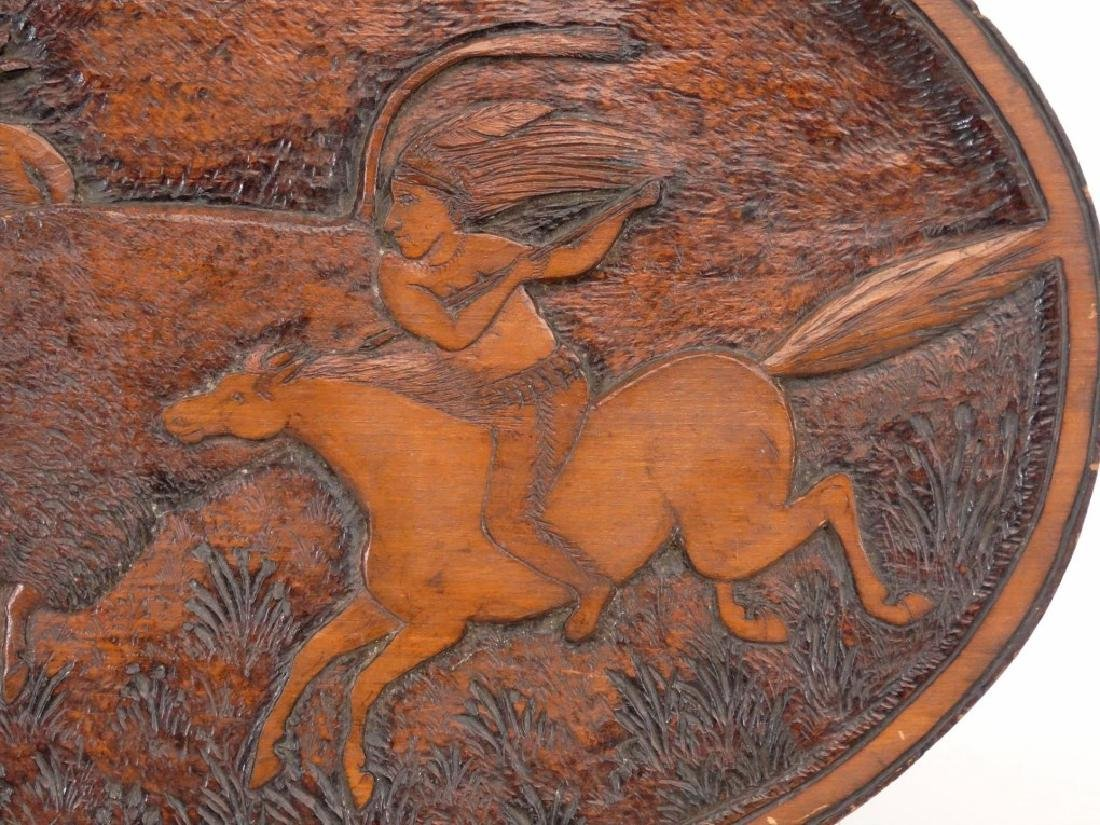 Carved Plaque With American Indians - 3