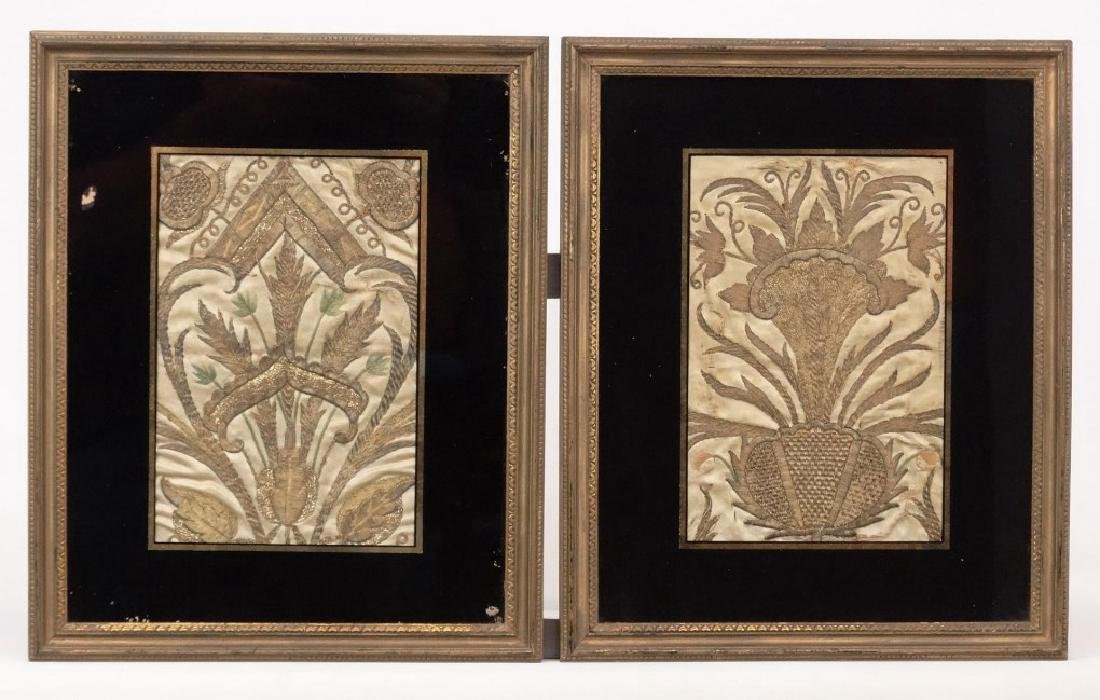 Pair 18th c. Ottoman Silk And Metal Purse Fronts