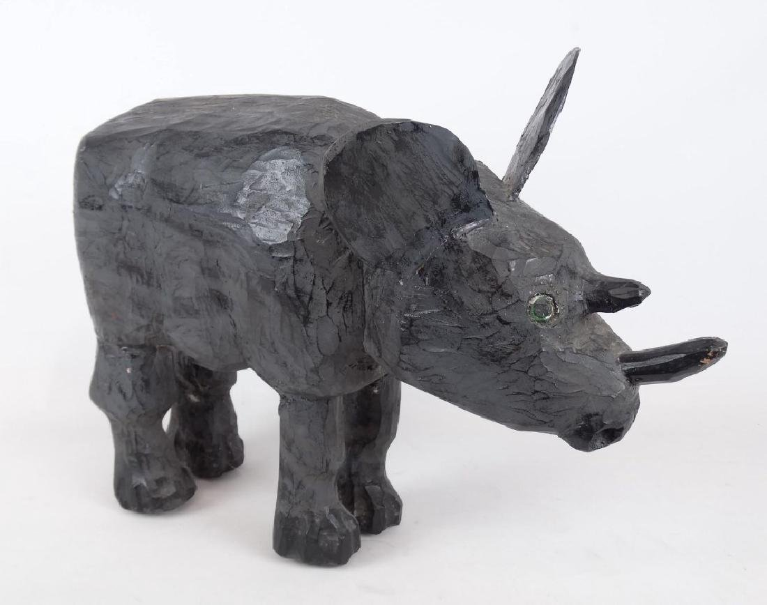 Nova Scotia Folk Art Rhinoceros Carving - 3