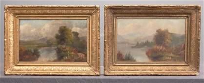 Hudson River School, Pair 19th c. Landscapes