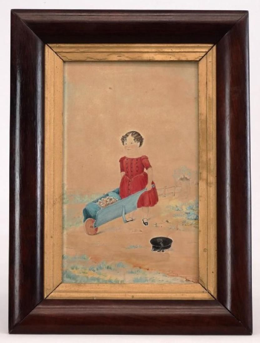 19th c. Watercolor, Child Pushing Wheelbarrow