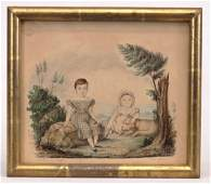 19th c. Watercolor, Two Children With Dog