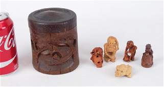 Chinese Jar With Netsuke Figures
