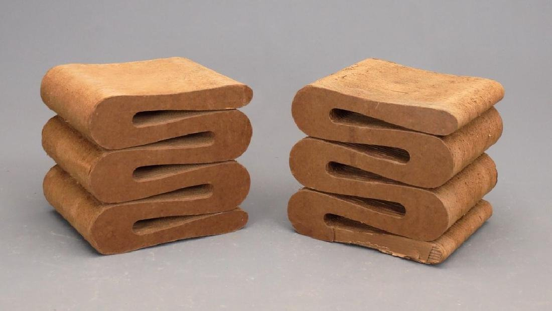 Pair Frank Gehry Easy Edge Wiggle Stools