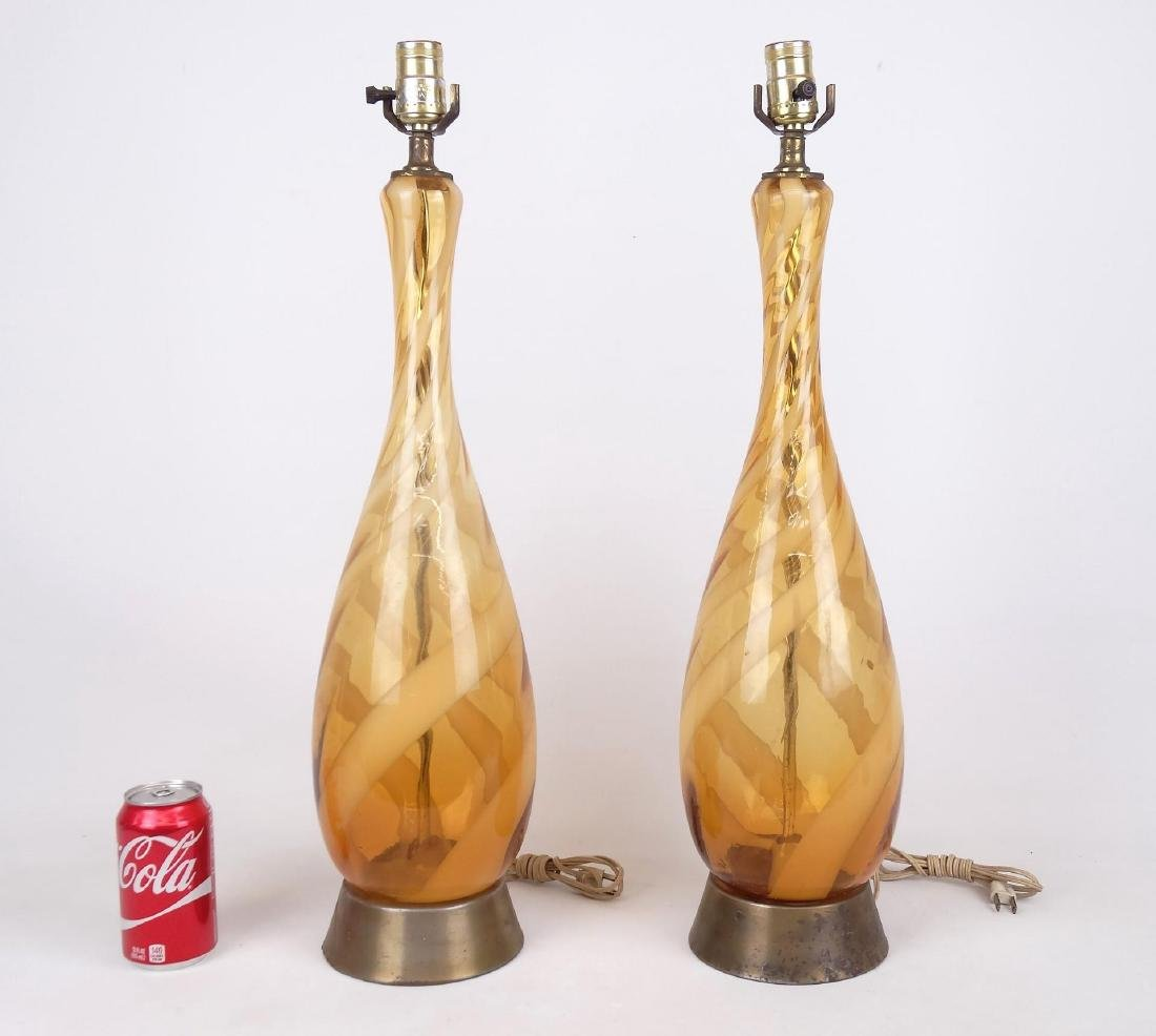 Murano Glass Mid Century Table Lamps